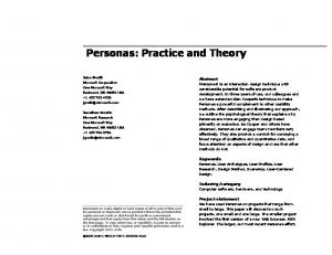 Personas: Practice and Theory