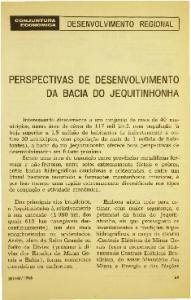 PERSPECTIVAS DE DESENVOLVIMENTO DA BACIA DO JEQUITINHONHA