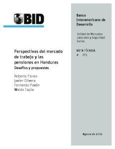 Perspectivas del mercado de trabajo y las pensiones en Honduras
