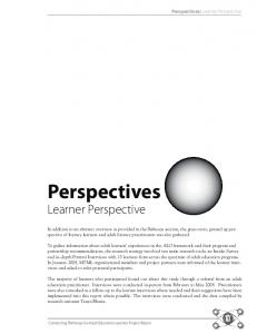 Perspectives. Learner Perspective