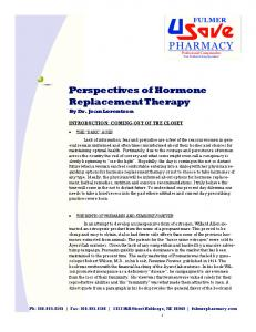 Perspectives of Hormone Replacement Therapy