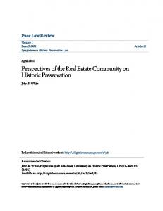 Perspectives of the Real Estate Community on Historic Preservation