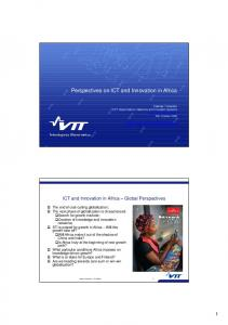 Perspectives on ICT and Innovation in Africa