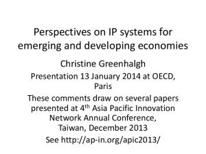 Perspectives on IP systems for emerging and developing economies