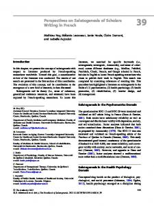 Perspectives on Salutogenesis of Scholars