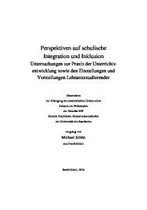 Perspektiven auf schulische Integration und Inklusion
