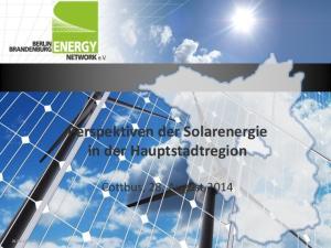 Perspektiven der Solarenergie in der Hauptstadtregion