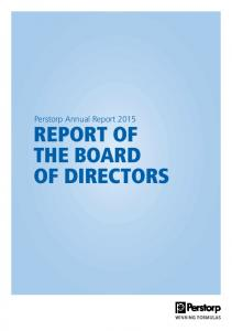 Perstorp Annual Report 2015 REPORT OF THE BOARD OF DIRECTORS