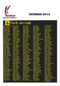 Perth Arrivals OCTOBER 2016