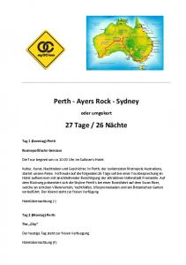 Perth - Ayers Rock - Sydney