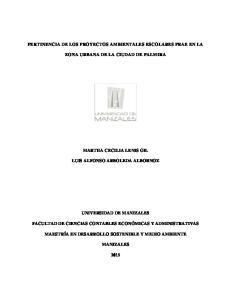 PERTINENCIA DE LOS PROYECTOS AMBIENTALES ESCOLARES PRAE EN LA ZONA URBANA DE LA CIUDAD DE PALMIRA
