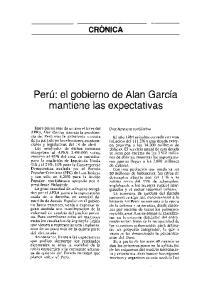 Peru: el gobierno de Alan Garcia mantiene las expectativas