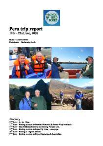 Peru trip report 12th 23rd June, 2008