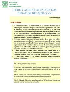 PERU Y AMBIENTE UNO DE LOS DESAFIOS DEL SIGLO XXI