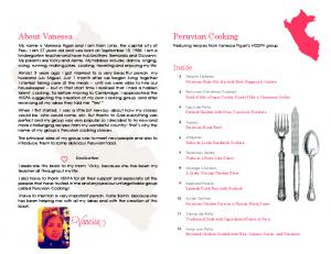 Peruvian Cooking. About Vanessa... Inside. Featuring recipes from Vanessa Figari s HSSPA group. -Vanessa