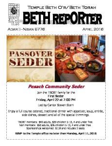 Pesach Community Seder