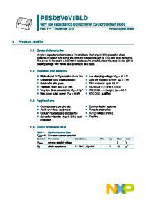 PESD5V0V1BLD. Very low capacitance bidirectional ESD protection diode