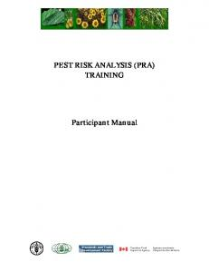 PEST RISK ANALYSIS (PRA) TRAINING. Participant Manual