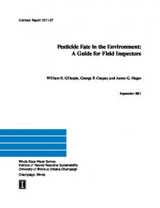 Pesticide Fate in the Environment: A Guide for Field Inspectors