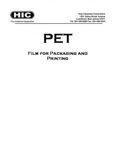 PET. Film for Packaging and Printing