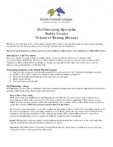 Pet Grooming Specialist Buddy Center Volunteer Training Manual