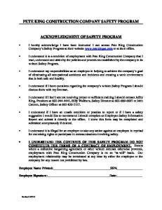 PETE KING CONSTRUCTION COMPANY SAFETY PROGRAM