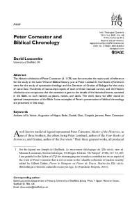Peter Comestor and Biblical Chronology