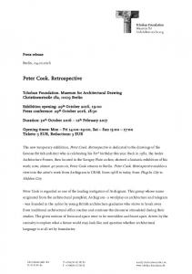 Peter Cook. Retrospective