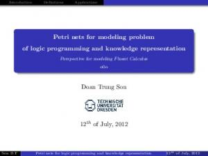 Petri nets for modeling problem of logic programming and knowledge representation. Doan Trung Son