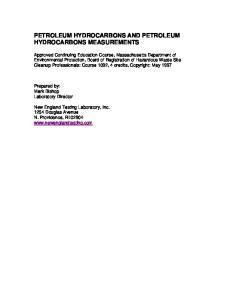 PETROLEUM HYDROCARBONS AND PETROLEUM HYDROCARBONS MEASUREMENTS