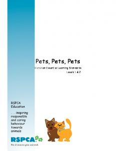 Pets, Pets, Pets. Victorian Essential Learning Standards Levels 1 & 2