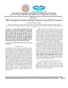 PFC and Speed Control of BLDC Motor Using ZETA Converter