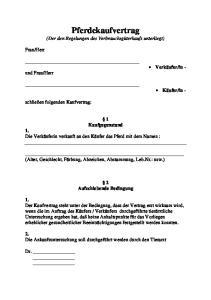 Pferdekaufvertrag (Der den Regelungen des Verbrauchsgüterkaufs unterliegt)