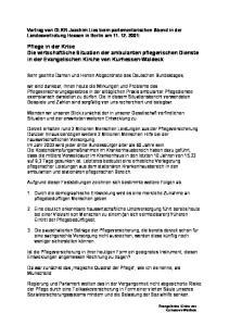 Pflege in der Krise Die wirtschaftliche Situation der ambulanten pflegerischen Dienste in der Evangelischen Kirche von Kurhessen-Waldeck