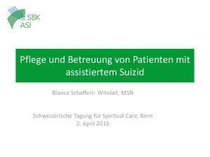 Pflege und Betreuung von Patienten mit assistiertem Suizid