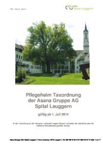 Pflegeheim Taxordnung der Asana Gruppe AG Spital Leuggern