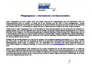 Pflegetagebuch Informationen und Dokumentation