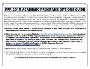 PFP 2015 ACADEMIC PROGRAMS OPTIONS GUIDE