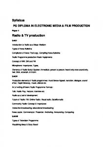 PG DIPLOMA IN ELECTRONIC MEDIA & FILM PRODUCTION
