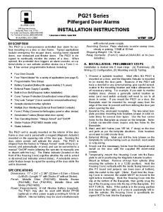 PG21 Series Pilfergard Door Alarms INSTALLATION INSTRUCTIONS
