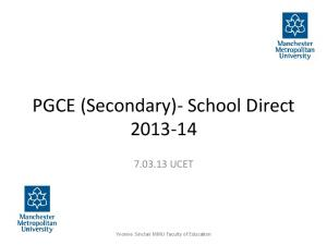 PGCE (Secondary)- School Direct