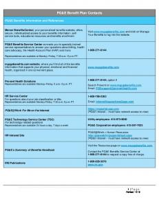PG&E Benefit Plan Contacts