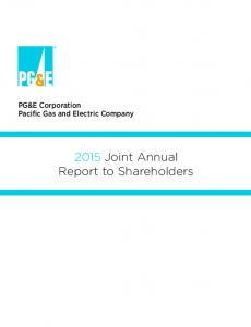PG&E Corporation Pacific Gas and Electric Company Joint Annual Report to Shareholders