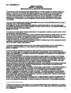 Ph 4 DOCUMENTO 01. SOBRE LA LECTURA UNIDAD 1: LA LECTURA I IMPORTANCIA DE LA LECTURA DE TEXTOS ESCRITOS