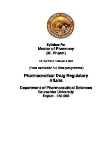 Pharmaceutical Drug Regulatory Affairs