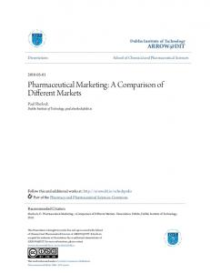 Pharmaceutical Marketing: A Comparison of Different Markets