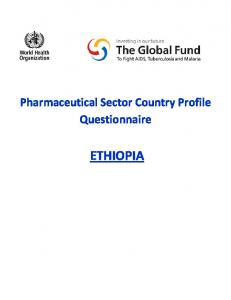 Pharmaceutical Sector Country Profile Questionnaire ETHIOPIA