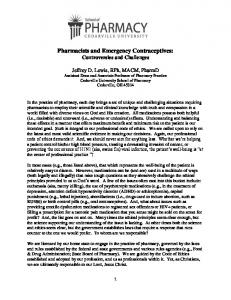 Pharmacists and Emergency Contraceptives: Controversies and Challenges