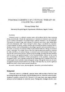 PHARMACOGENETICS OF CYTOTOXIC THERAPY IN COLORECTAL CANCER