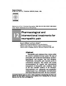 Pharmacological and interventional treatments for neuropathic pain